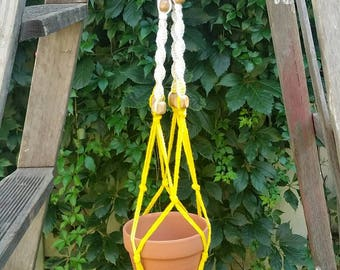 Yellow and White Macrame plant hanger