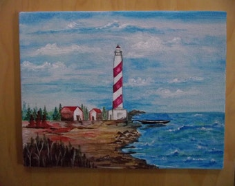Lighthouse Scenery , Watercolor Painting