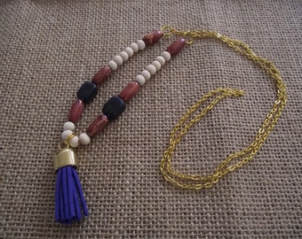 Necklace with blue suede tassel and sodalite beads