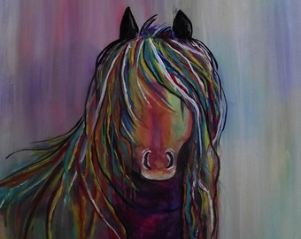 Colorful Horse , Watercolor Painting