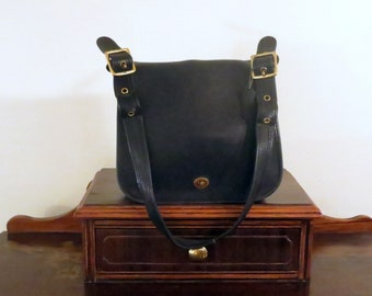 e666143bbe Coach Stewardess Bag In Black Leather With Brass Hardware Style No 9525  Made In The Factory In New York City- VGC