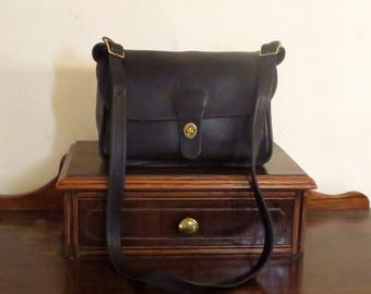 Dads Grads Sale Coach Rambler Bag In Black Leather With Brass Hardware - Style No 9735- Made In United States- GUC- Rare Bag