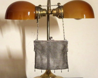 Etsy BDay SaleH C & C  German Silver Mesh Kisslock Bag - Vgc