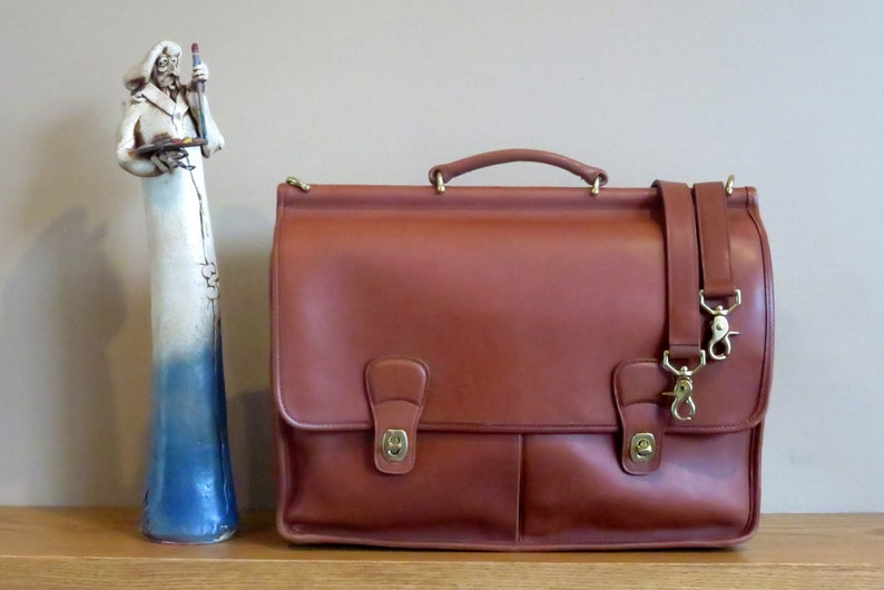 SALE Coach Dowel Computer Case In British Tan Leather With image 0