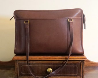 Etsy BDay SaleCoach Shoulder Brief In Brown (Mahogany?) Leather With Brass Hardware Style No 5230- Made In United States - VGC