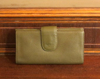 Etsy BDay Sale Rolfe Green Leather Combination Wallet Checkbook and Kisslock Coin Purse- EUC