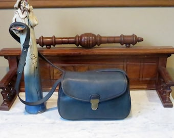 Dads Grads Sale Coach Gilford Bag In Navy Leather With Brass Touch Lock Closure - Style No 9913- VGC
