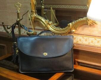 Dads Grads Sale Coach Lexington Black Leather Briefcase Laptop IPad Messenger Bag # 5265- Made In U.S.A.