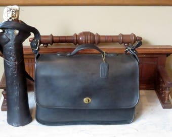 Etsy BDay Sale Coach Letter Brief In Black Leather Style No 5270- Made In United States- EUC