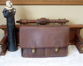 Dads Grads Sale Coach Prescott Briefcase In Mahogany Leather - Style No. 5275- Made in United States- GUC- No Strap