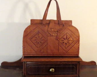 Dads Grads Sale Vintage Tooled Brown Leather Doctor Satchel With Dual Handles - VGC - Very Nice
