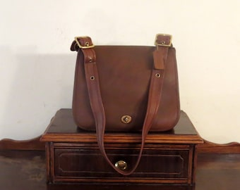 Dads Grads Sale Coach Stewardess Bag In Mocha (Brown)  Leather With Brass Hardware Style No 9525 Made In United States- VGC