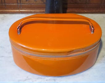 Etsy BDay SaleVintage Tangerine Vinyl Oval Train Case -Very Cool