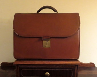 Dads Grads Sale Coach Diplomat British Tan Leather Briefcase Attache Laptop IPad Case - Style No. 5353  Made In United States - VGC
