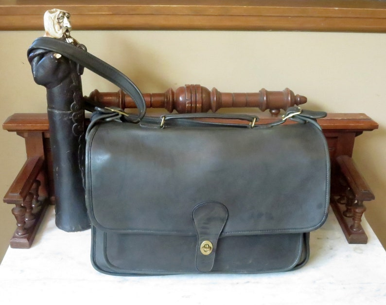 04ba20d4d2ed2 Labor Day Sale Coach Metropolitan Brief Bag In Black Leather With Brass  Hardware- Made in New York City - VGC