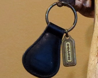 Dads Grads Sale Coach Classic Key Fob In Black Leather With Bronze Hang Tag Style No. 7210- VGC