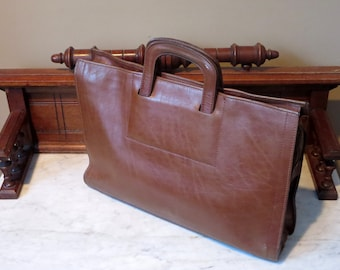 Etsy BDay SaleRenwick Brown Bull Hide Leather Double Gusset Briefcase Attache -Very Nice