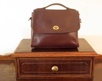 Dads Grads Sale Coach Court Bag In Mahogany (Brown)  Leather With Brass Hardware - Strap Missing