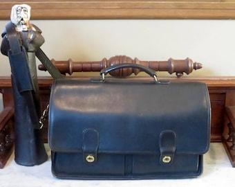 Dads Grads Sale Coach Prescott Briefcase In Black Leather & Brass Hardware- Style No. 5275- Made in United States- VGC