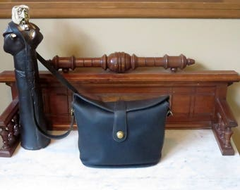 Etsy BDay Sale Coach Binocular Bag In Black Leather With Brass Hardware And Crossbody Strap Style No. 9853- Made In United States - VGC