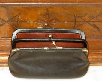 Dads Grads Sale Coach Double Purse In Black Leather Style No 7180-Rare Bag- Beautifully Worn