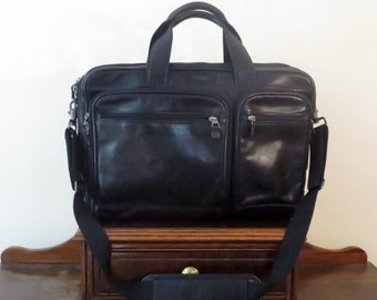 Etsy BDay SaleHartmann Soft Side Briefcase Laptop Carrier In Black Leather & Silver Tone Hardware With Detachable Cross Body Strap - VGC