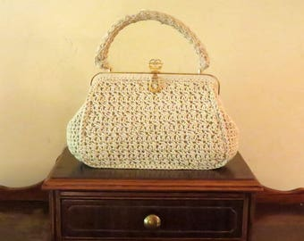 Dads Grads Sale Vintage White Crochet Handbag With Gold Toned Hardware- Made In Italy-VGC