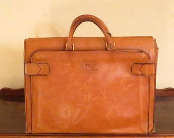 Etsy BDay SaleRolla 1975 Collection Leathergoods Briefcase Tote Carryall in Buttery Tan Leather - VGC