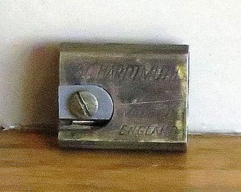 Dads Grads Sale Very Vintage L. C. Hardtmuth  Brass Pencil Sharpener With Distressed Leather Case - Made In England