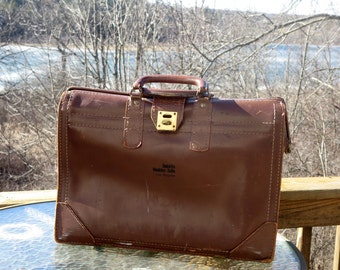 Dads Grads Sale Vintage Leather Gladstone Style Briefcase With Brass Closure Clasp- Very Reasonably Priced