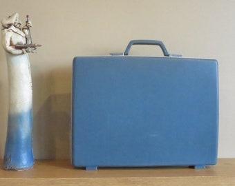 Dads Grads Sale Vintage Samsonite Slate Blue Hard Shell Slim Briefcase Attache No Key - Rare Retro- VGC