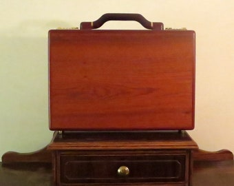 Dads Grads Sale Striking Vintage Rosewood Briefcase Attache With Gold Tone Hardware And Presto Combination Lock - VGC- Beautiful Case