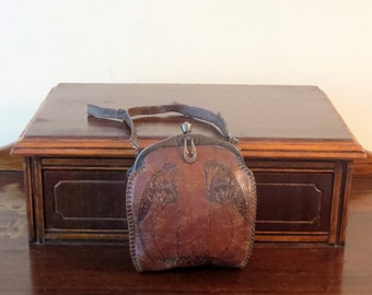 Etsy BDay Sale Jemco Antique Hand Tooled Leather Art Deco Design Bag - Very Cool