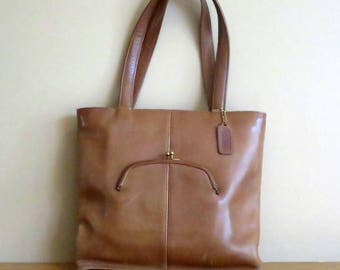 Etsy BDay Sale Coach Skinny Tote In Tabac (Saddle ?) Leather- Made In NYC At 'The Factory'- VGC