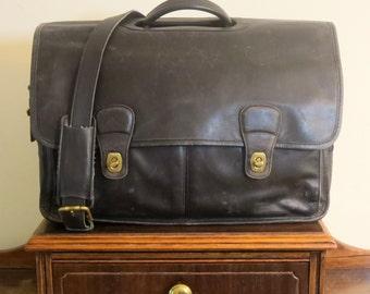 Dads Grads Sale Coach Organizer Briefcase Attache Laptop Case Style No 532 - Black Leather Brass Hardware - Vintage With Modern Storage