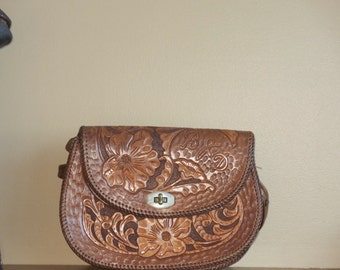 Dads Grads Sale Hand Tooled Brown Leather Bag Purse Shoulder Bag- VGC