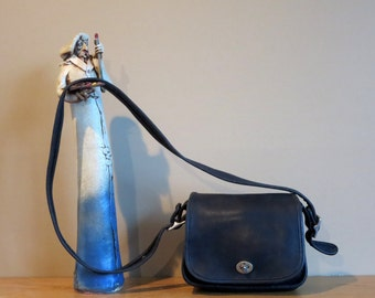 Etsy BDay Sale Coach Legacy Flap Black Leather Saddle Bag Style No 9965