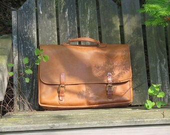Dads Grads Sale Coach Wallstreet Briefcase In British Tan Leather Attache Laptop Ipad Bag No. 5240 Reg No. 0868-214 Made in U.S.A Vgc