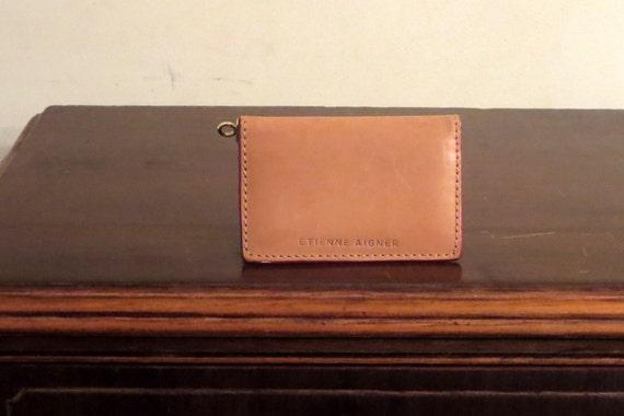 Verkauf Etienne Aigner Bifold Karte Fall Oder Brieftasche Einfügen In Medium Tan Leder Sehr Guter Zustand