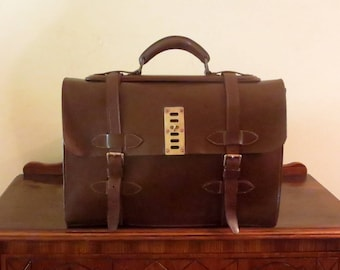 Etsy BDay Sale Multi-gusseted Brown Bridle Leather Briefcase With Brass Hardware- Very Nice