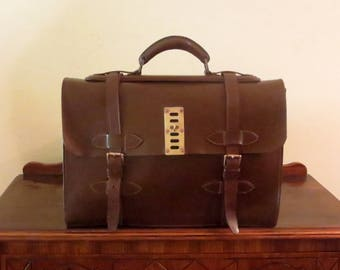 Etsy BDay SaleMulti-gusseted Brown Bridle Leather Briefcase With Brass Hardware- Very Nice