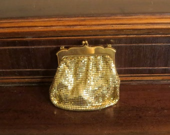 Etsy BDay Sale Whiting and Davis Gold Tone Mesh Kisslock Coin Purse Clutch- Made In the United States-VGC