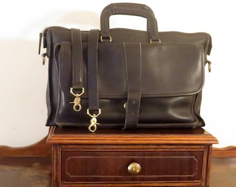 Dads Grads Sale Coach Harrison Multi-Compartment Briefcase In Black Leather U.S.A. Made - Missing Magnetic Buckle Snap