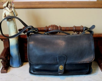 Etsy BDay Sale Coach Metropolitan Black Leather Briefcase With Brass Hardware- Made At The Factory In New York City- U.S.A.