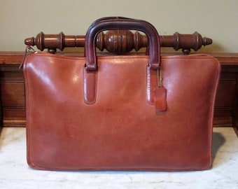 Etsy BDay Sale Coach Handle Portfolio Briefcase Laptop Carrier In Burgundy Leather Made In The Factory In NYC-Boxed And Wrapped- VGC-