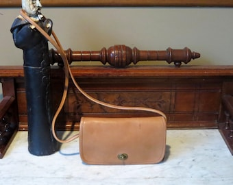 Etsy BDay SaleCoach Dinky Bag In Tabac ( Saddle?) Leather With Crossbody Strap Style 9375- Made In United States- VGC