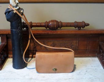 Etsy BDay Sale Coach Dinky Bag In Tabac ( Saddle?) Leather With Crossbody Strap Style 9375- Made In United States- VGC