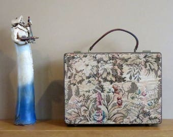 Dads Grads Sale Quaint Vintage Floral Patterned Tapestry Briefcase Attache With Gold Tone Hardware - Beautifully Worn & Very Unique