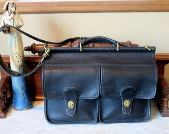 Dads Grads Sale Coach Kensington Briefcase Attache Laptop IPad Carrier in Black- Style No 5279- VGC Made In U.S.A.