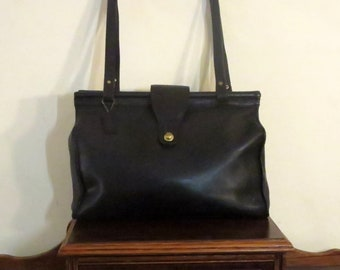 Dads Grads Sale Coach Barclay Tote In Black Leather With Brass Hardware- Style No. 9896- Made In United States- VGC